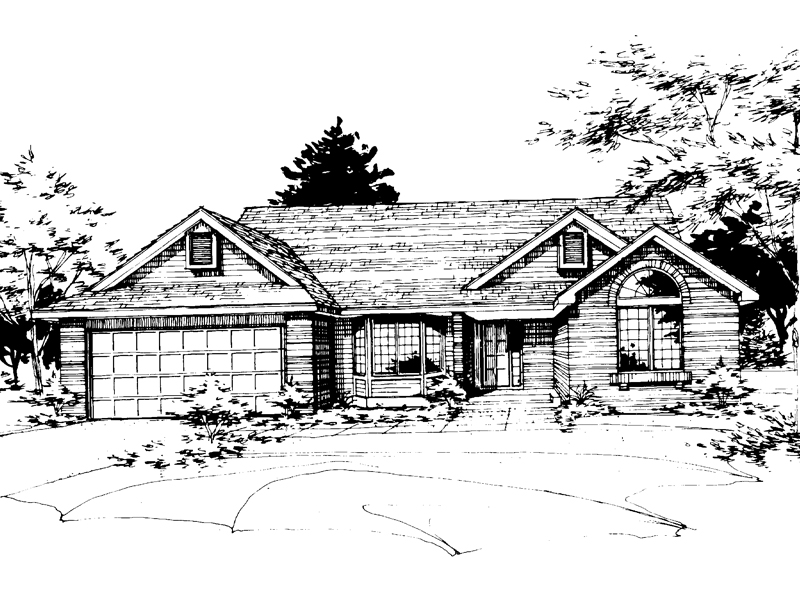 Ranch House Plan Front of Home - 072D-0216 | House Plans and More
