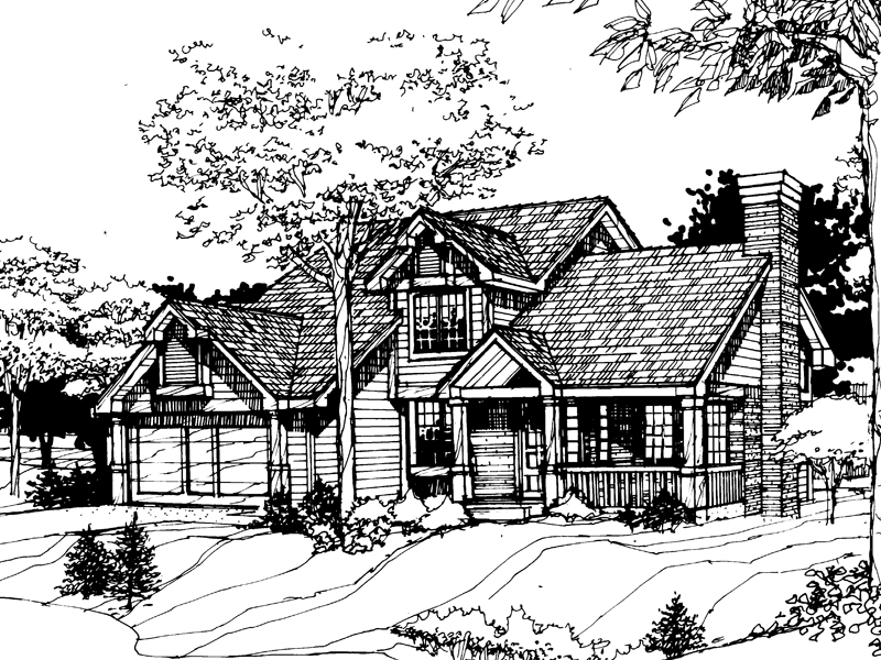 Cabin & Cottage House Plan Front of Home - 072D-0257 | House Plans and More