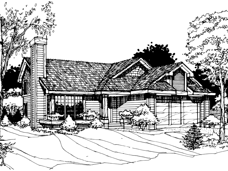 Traditional House Plan Front of Home - 072D-0258 | House Plans and More