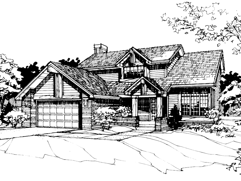 Traditional House Plan Front of Home 072D-0261
