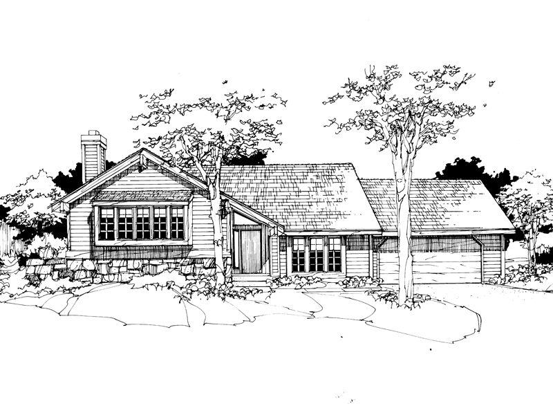 Ranch House Plan Front of Home - 072D-0277 | House Plans and More