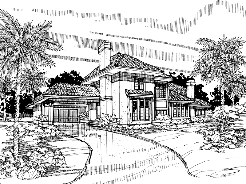Spanish House Plan Front of Home - 072D-0296 | House Plans and More