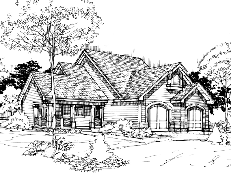 Traditional House Plan Front of Home - 072D-0298 | House Plans and More