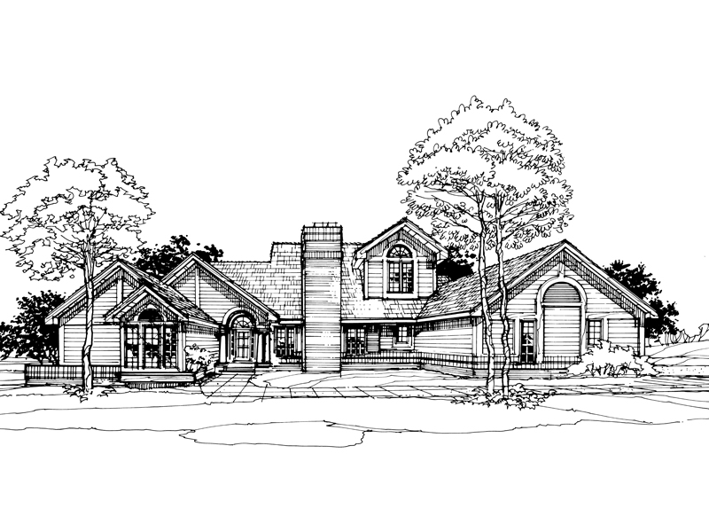 Traditional House Plan Front of Home - 072D-0303 | House Plans and More