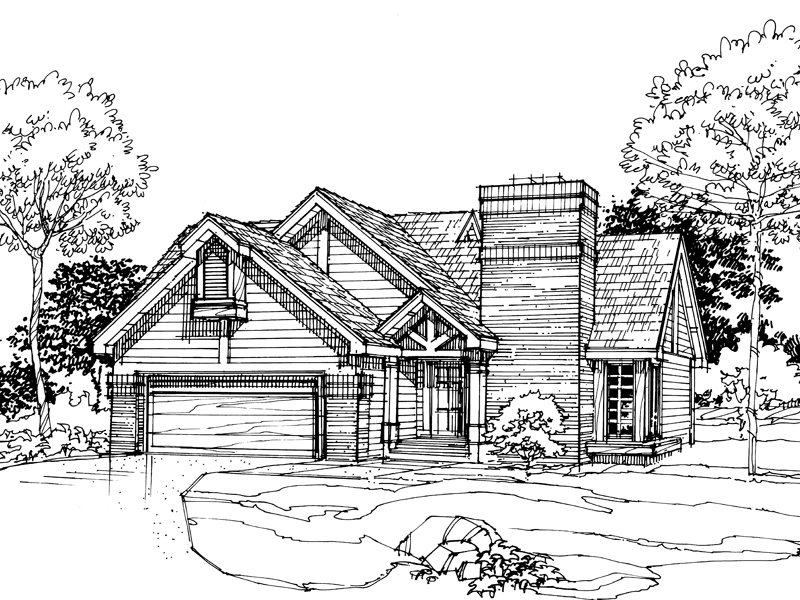 Traditional House Plan Front of Home - 072D-0306 | House Plans and More