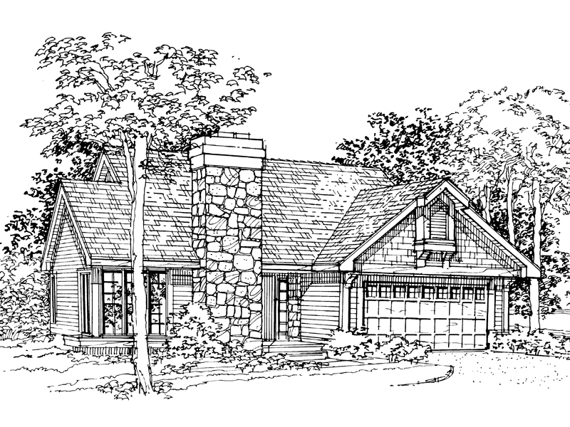 Ranch House Plan Front of Home - 072D-0328 | House Plans and More
