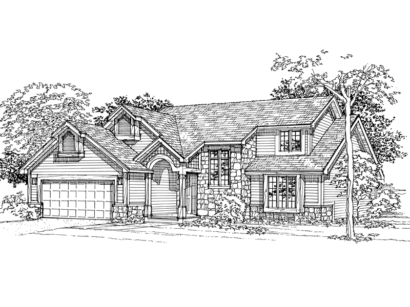 Traditional House Plan Front of Home - 072D-0333 | House Plans and More