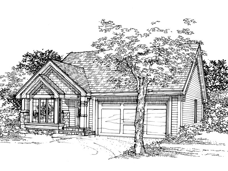 Ranch House Plan Front of Home - 072D-0334 | House Plans and More