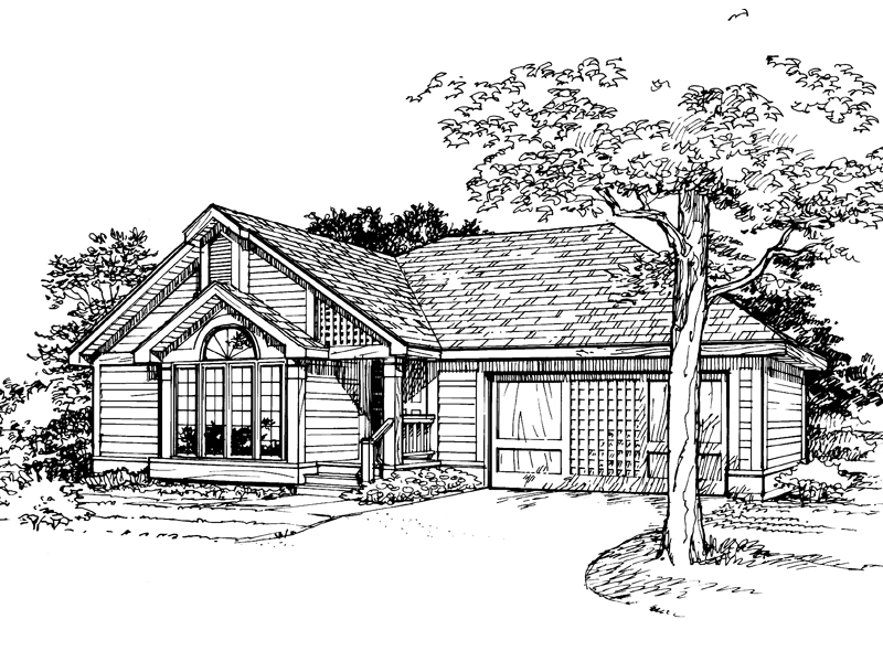 Ranch House Plan Front of Home - 072D-0337 | House Plans and More