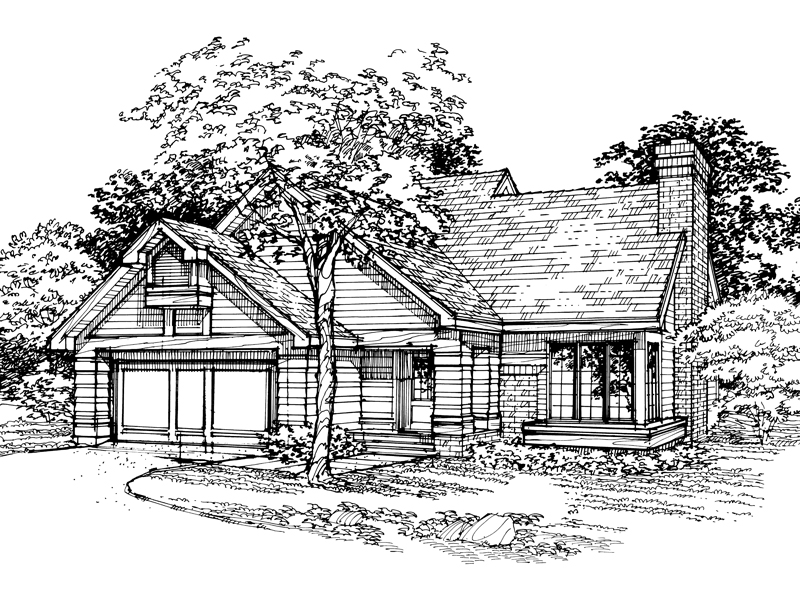 Traditional House Plan Front of Home - 072D-0342 | House Plans and More