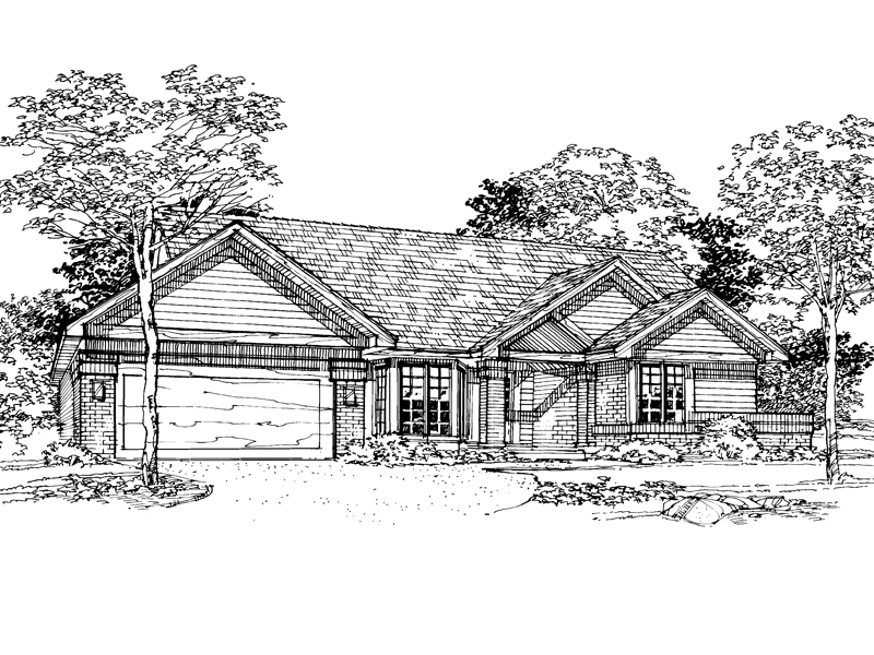 Ranch House Plan Front of Home - 072D-0347 | House Plans and More
