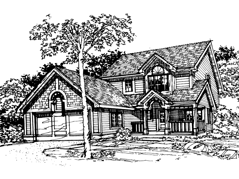 Traditional House Plan Front of Home - 072D-0348 | House Plans and More