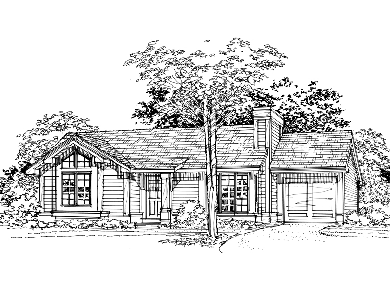 Ranch House Plan Front of Home - 072D-0349 | House Plans and More