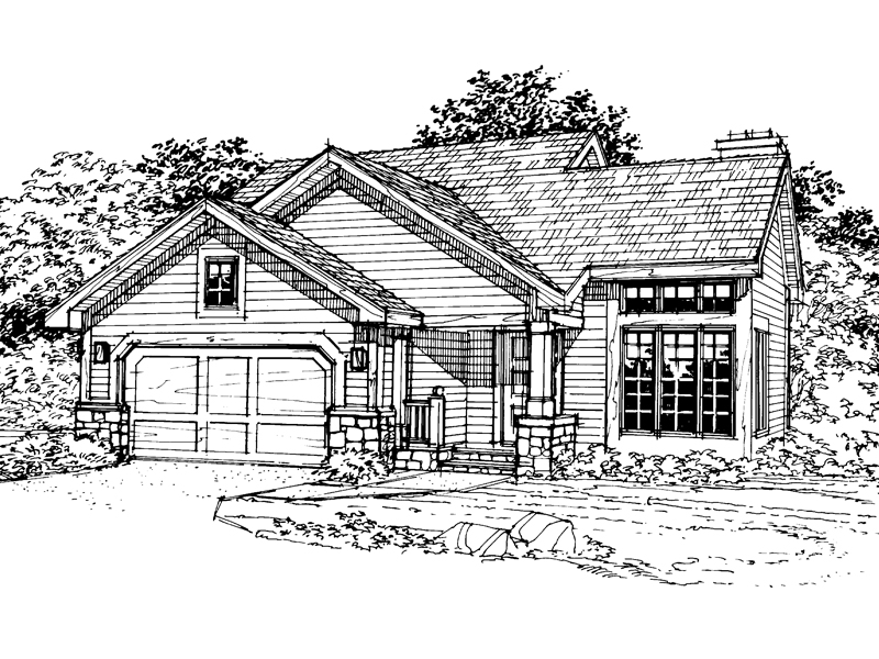 Contemporary House Plan Front of Home - 072D-0350 | House Plans and More