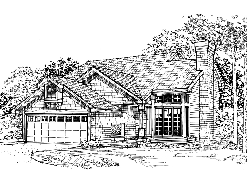 Traditional House Plan Front of Home - 072D-0351 | House Plans and More