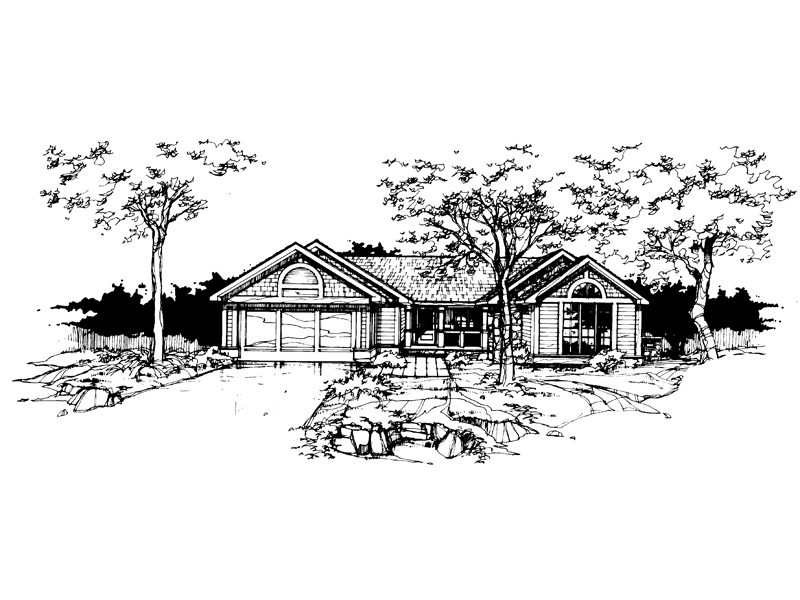 Ranch House Plan Front of Home - 072D-0355 | House Plans and More