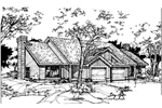 Ranch House Plan Front of Home - 072D-0356 | House Plans and More