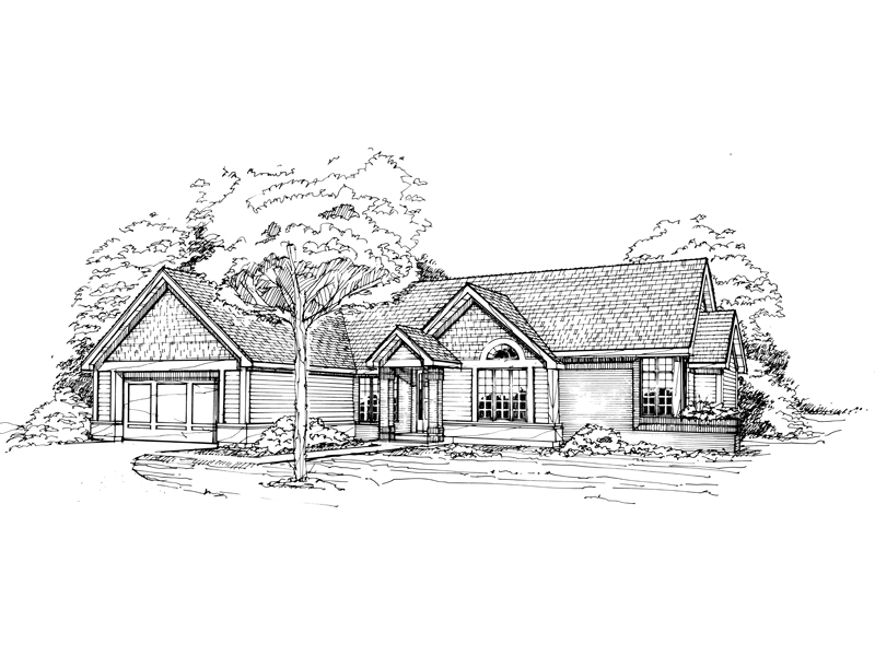 Ranch House Plan Front of Home - 072D-0358 | House Plans and More