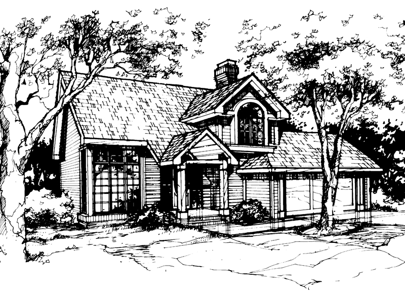 Traditional House Plan Front of Home - 072D-0372 | House Plans and More