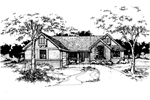Ranch House Plan Front of Home - 072D-0373 | House Plans and More