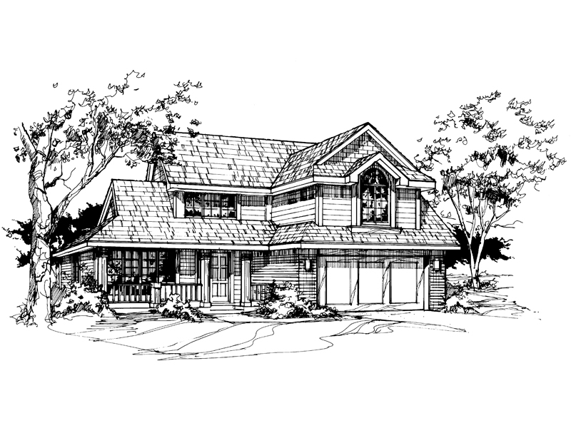 Farmhouse Plan Front of Home - 072D-0377 | House Plans and More