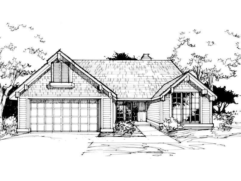 Ranch House Plan Front of Home - 072D-0379 | House Plans and More