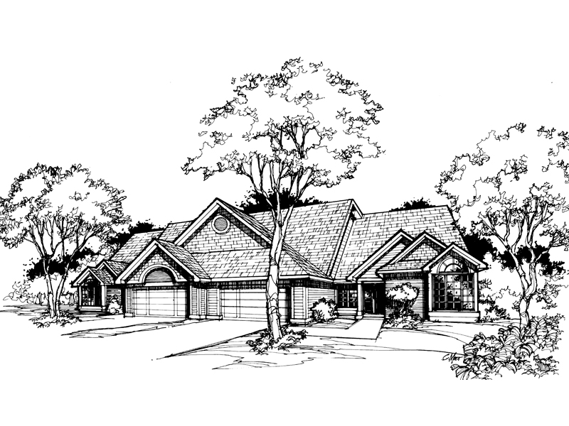 Ranch House Plan Front of Home - 072D-0380 | House Plans and More