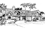 Adobe and Southwestern Plan Front of Home - 072D-0381 | House Plans and More