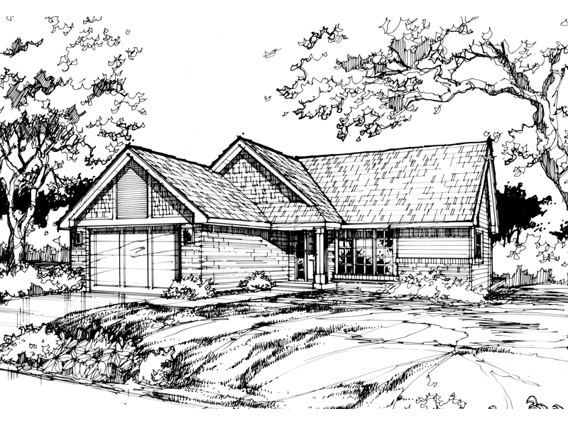 Ranch House Plan Front of Home - 072D-0382 | House Plans and More