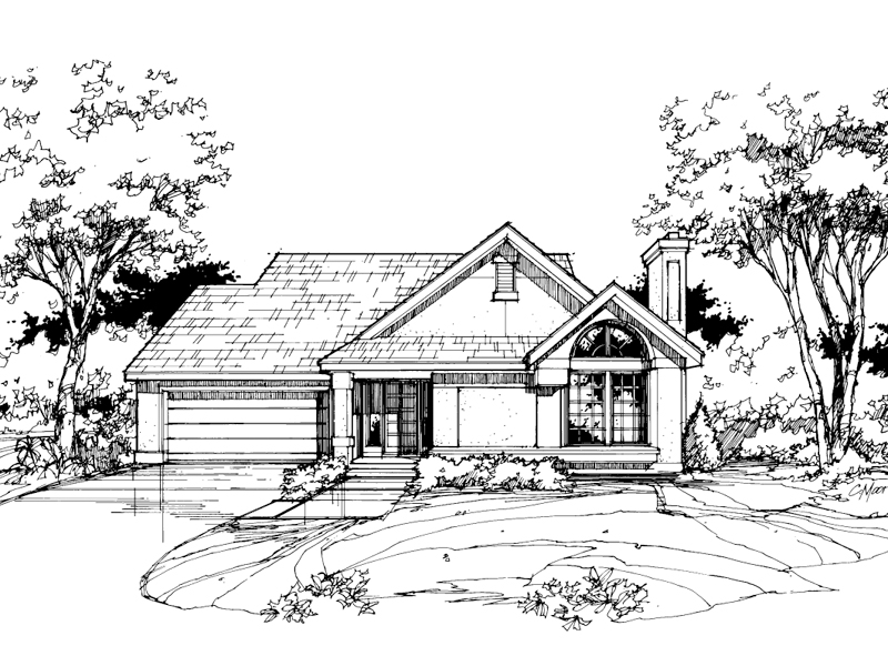 Contemporary House Plan Front of Home - 072D-0385 | House Plans and More
