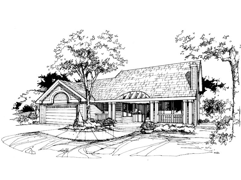 Traditional House Plan Front of Home - 072D-0386 | House Plans and More