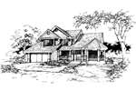 Farmhouse Plan Front of Home - 072D-0388 | House Plans and More