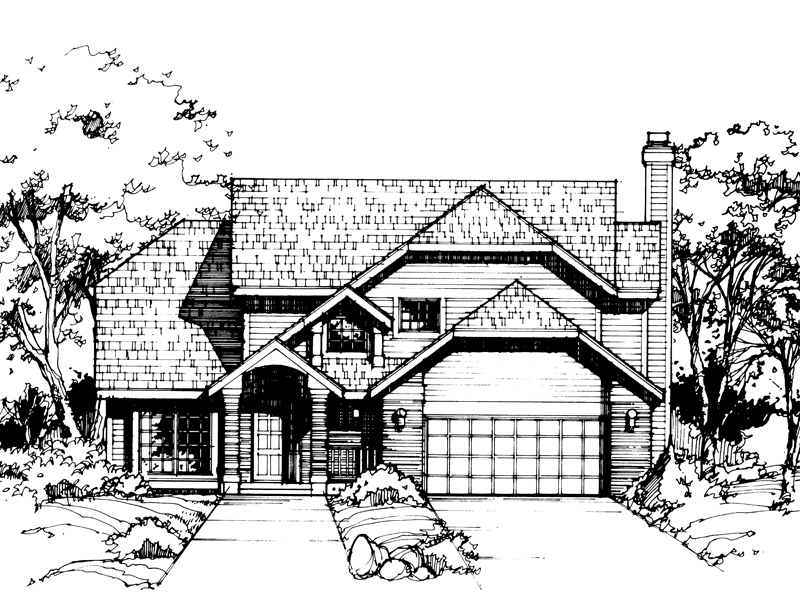 Bungalow House Plan Front of Home 072D-0406