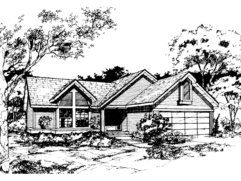 Ranch House Plan Front of Home - 072D-0411 | House Plans and More