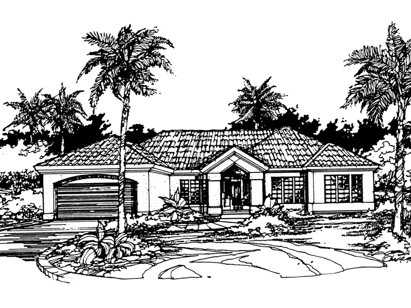 Sunbelt Home Plan Front of Home - 072D-0417 | House Plans and More