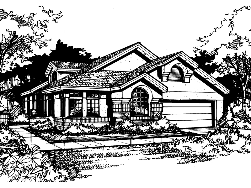 Ranch House Plan Front of Home - 072D-0420 | House Plans and More