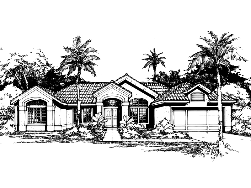 Sunbelt Home Plan Front of Home - 072D-0421 | House Plans and More