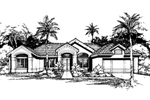 Adobe and Southwestern Plan Front of Home - 072D-0421 | House Plans and More