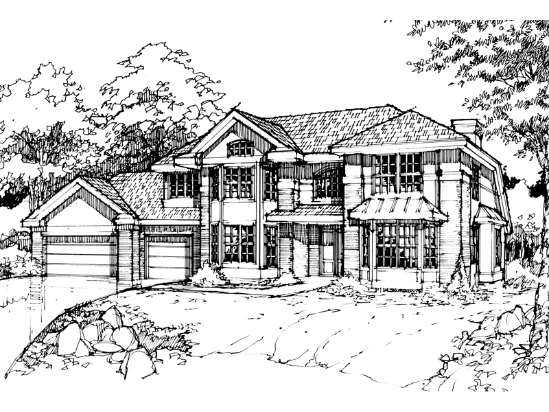 Colonial House Plan Front of Home - 072D-0430 | House Plans and More