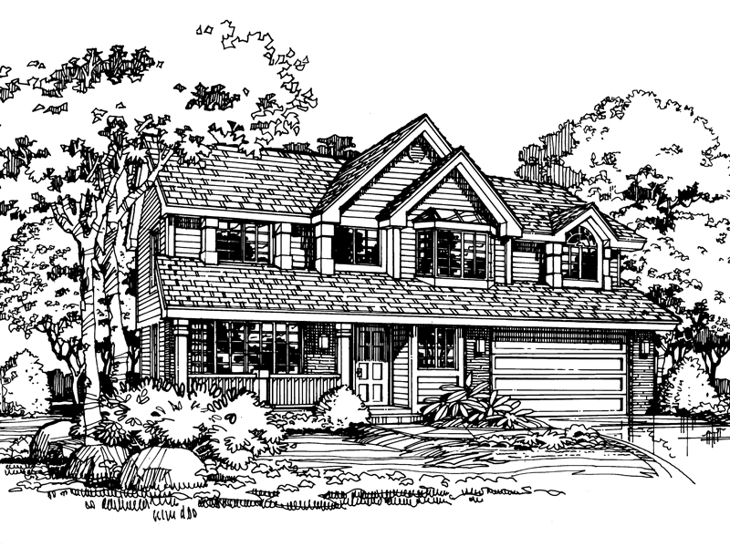 Traditional House Plan Front of Home - 072D-0434 | House Plans and More