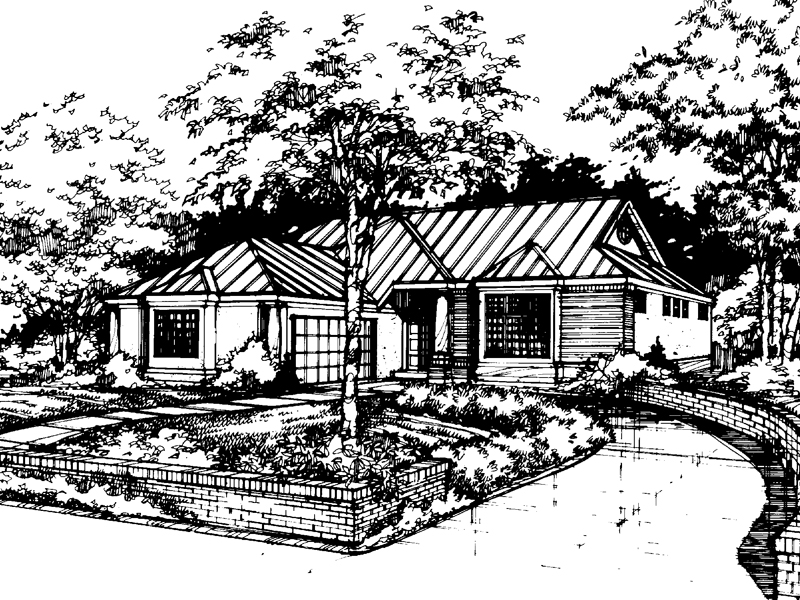Ranch House Plan Front of Home - 072D-0437 | House Plans and More