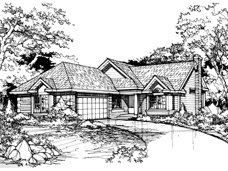 Ranch House Plan Front of Home - 072D-0439 | House Plans and More