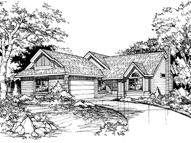 Ranch House Plan Front of Home - 072D-0440 | House Plans and More