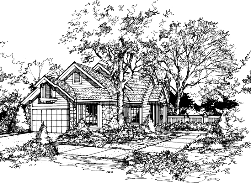 Traditional House Plan Front of Home - 072D-0442 | House Plans and More