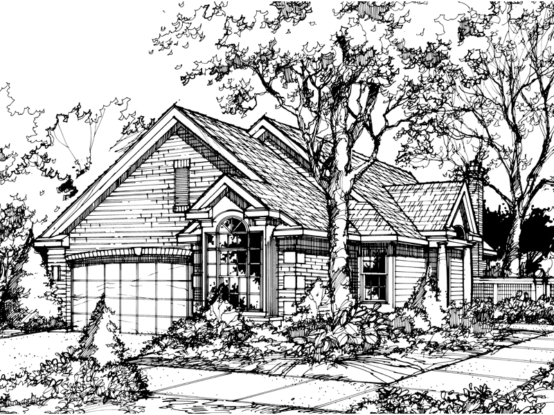 Ranch House Plan Front of Home - 072D-0443 | House Plans and More
