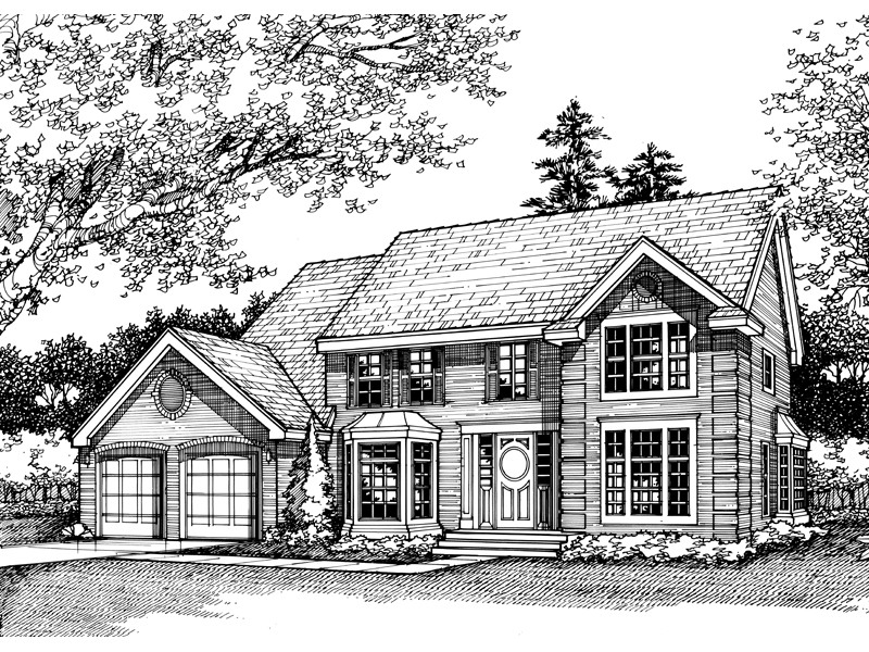 Colonial House Plan Front of Home - 072D-0446 | House Plans and More