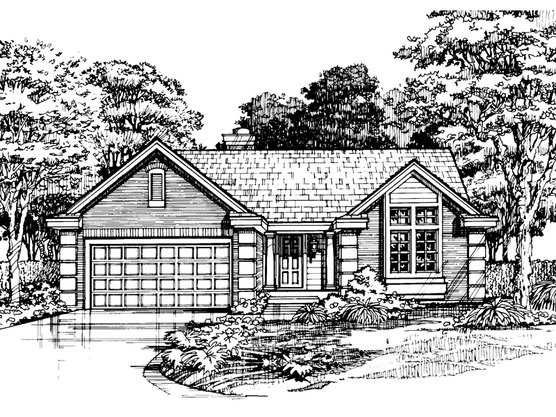 Ranch House Plan Front of Home - 072D-0450 | House Plans and More