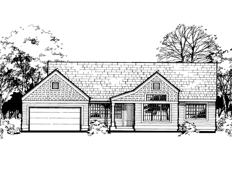 Ranch House Plan Front of Home - 072D-0451 | House Plans and More