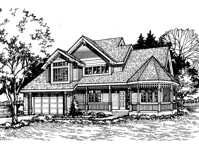 Farmhouse Plan Front of Home - 072D-0474 | House Plans and More