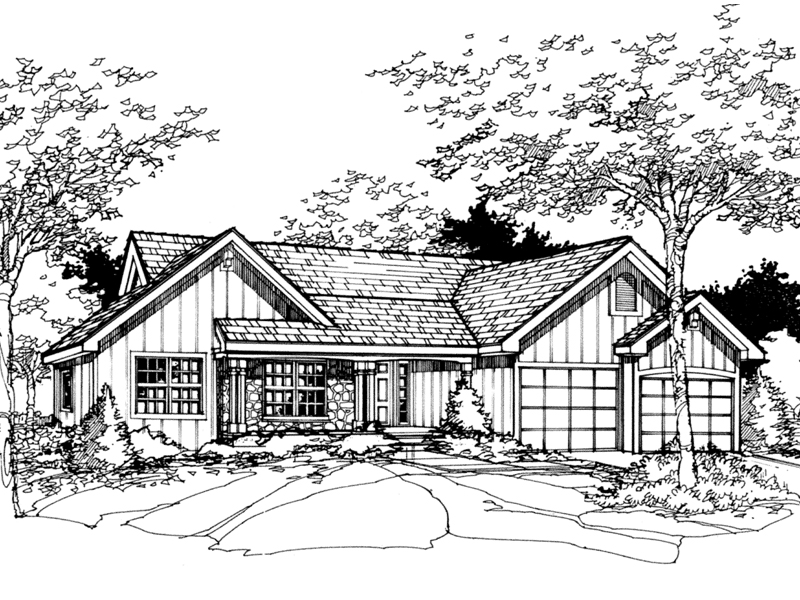Ranch House Plan Front of Home - 072D-0484 | House Plans and More